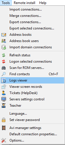 Logs viewer menu