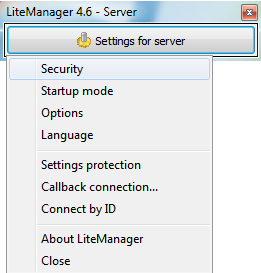 Security item in the server settings